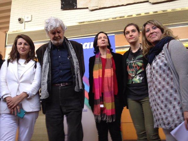 Yolanda Díaz, Xosé Manuel Beiras, Carolina Bescansa y Carmen Santos