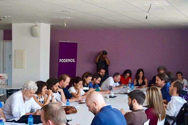 Reunión de Unidos Podemos y las confluencias en Madrid