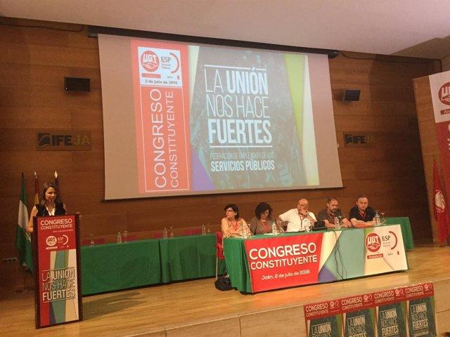 La delegada de la Junta en Jaén, Ana Cobo, en el congreso de FSP UGT Jaén