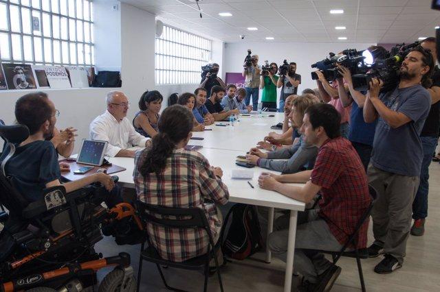 Montiel en la reunión de secretarios generales de Podemos