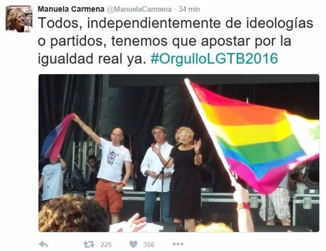 Tuit de Carmena con motivo del Orgullo Gay 2016 en Madrid