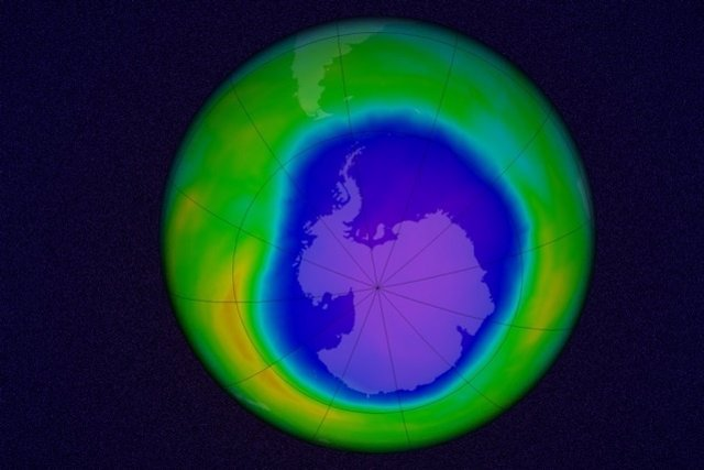 Simulación del agujero de ozono antártico