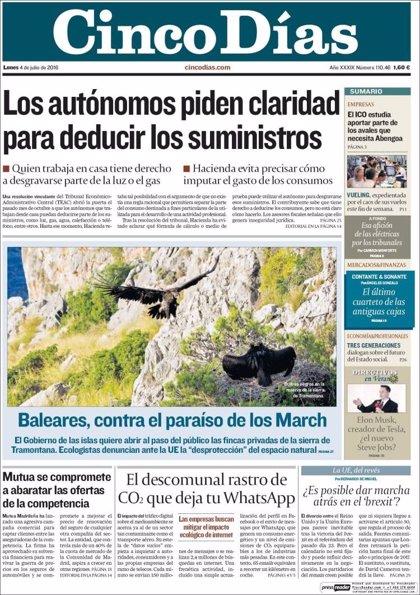 Las portadas de los periódicos económicos de hoy, lunes 4 de julio