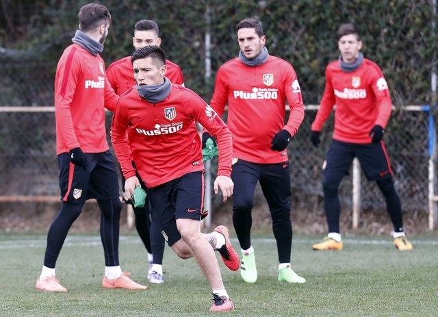 Matías Kranevitter, entrenando con el Atlético
