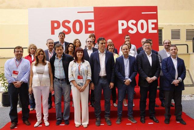 Pedro Sánchez y los 'barones' y candidatos.