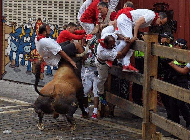 Segundo encierro de San Fermín con la ganadería de Cebada Gago