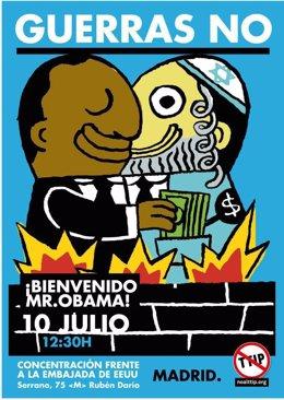 Cartel de IU Madrid contra la visita de Obama a España