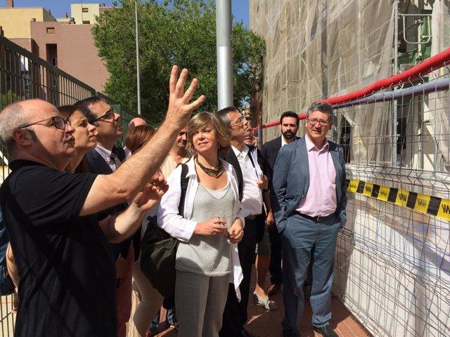 Visita de las obras del barrio de Canyelles de Barcelona