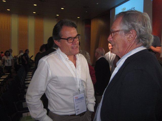 Expte y líder de CDC, A.Mas, con exacalde y líder de CDC en Barcelona, X.Trias