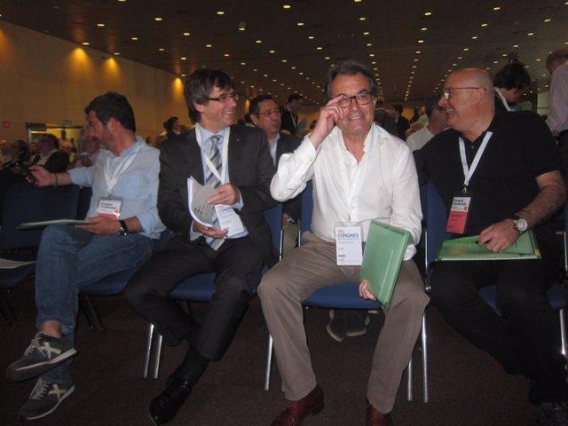 F.Sànchez, pte.C.Puigdemont, expte.Y líder de CDC, A.Mas, y Ll.Corominas