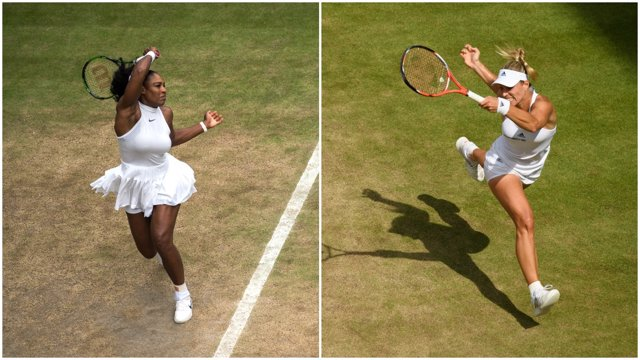 Serena Williams y Angelique Kerber antes de la final de Wimbledon