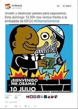 Cartel compartido por IU Madrid en Twitter