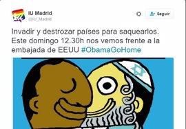 """El PP y C's piden a IU que retire el cartel """"antisemita"""" difundido en Twitter contra la visita de Obama"""