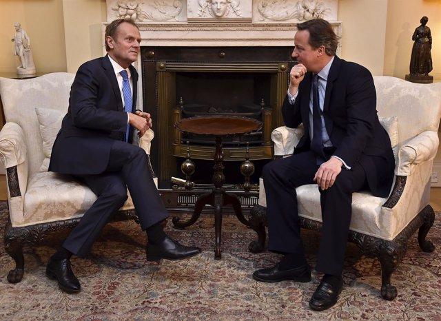 Donald Tusk y el premier británico, David Cameron