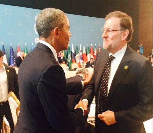 Mariano Rajoy y Barack Obama se saludan en la cumbre del G-20 en Turquía