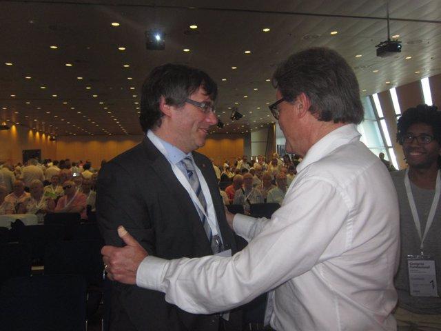 Expte. Y líder de CDC, A.Mas con el pte.C.Puigdemont en el congreso de CDC