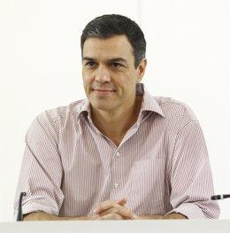 Pedro Sánchez en la reunión de la Ejecutiva Federal en Ferraz