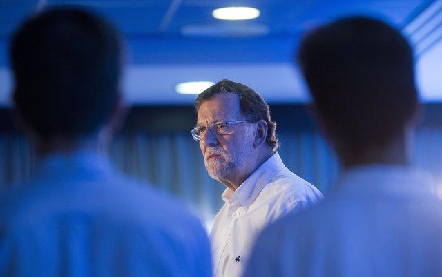Mariano Rajoy, durante un acto electoral en Teruel