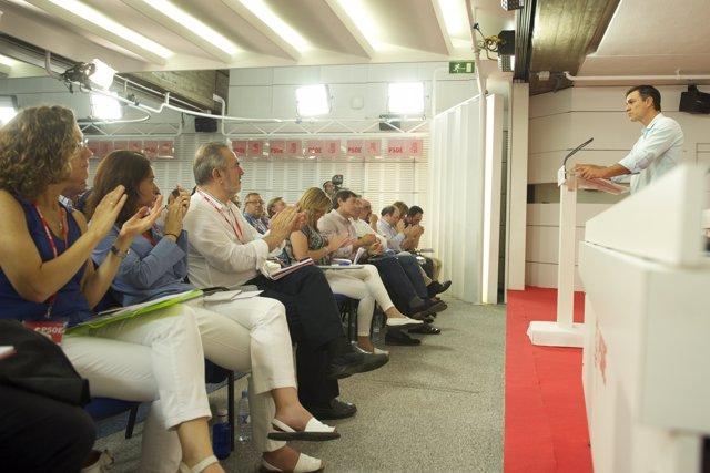 Pedro Sánchez habla ante sus compañeros del Comité Federal