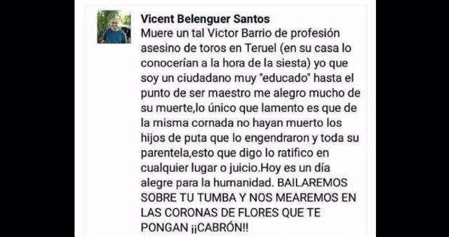 Comentario en Facebook denunciado por la muerte del torero Barrio