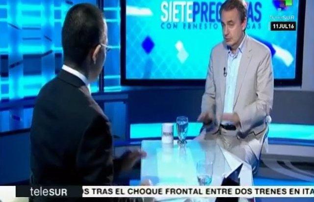 El expresidente español José Luis Rodríguez Zapatero en TeleSur