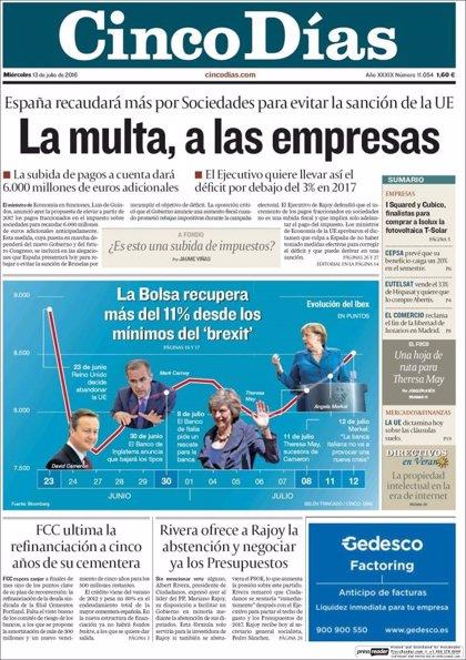 Las portadas de los periódicos económicos de hoy, miércoles 13 de julio