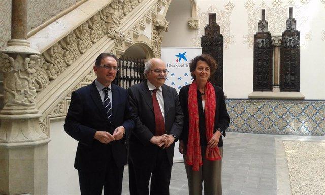 Jaume Giró (La Caixa), Andreu Mas-Colell y Montserrat Vendrell (Bist)