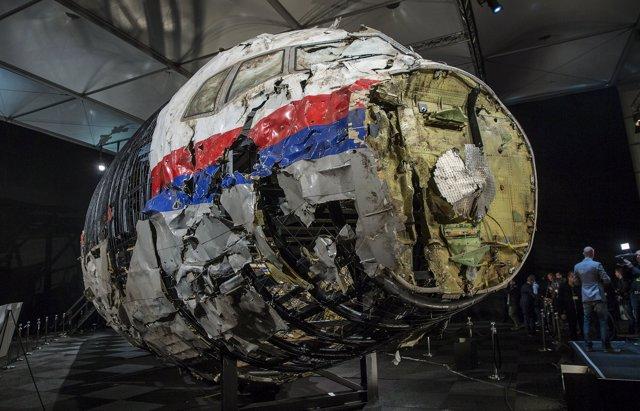 Restos reconstruidos del vuelo MH17 de Malaysia Airlines