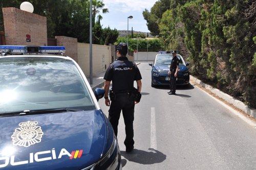 Dos patrullas en una calle del complejo de chalets de Vistahermosa