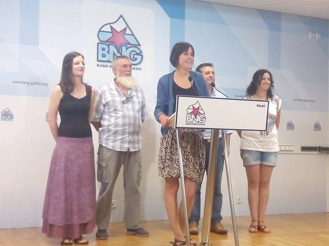 Ana Pontón junto a los cuatro cabezas de lista