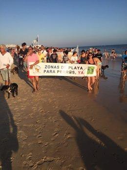 Manifestación en Matalascañas a favor de playas para perros