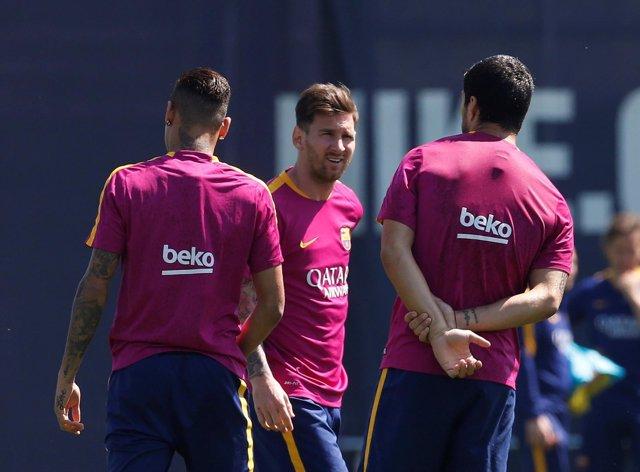 Messi en un entrenamiento del FC Barcelona