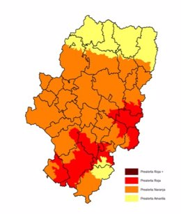 Prealerta por riesgo de incendios en Aragón.