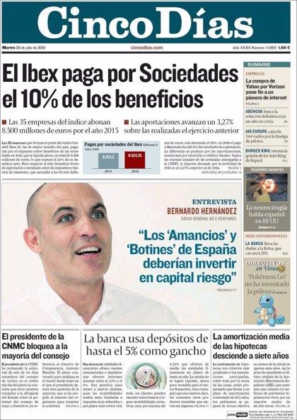 Las portadas de los periódicos económicos de hoy, martes 26 de julio