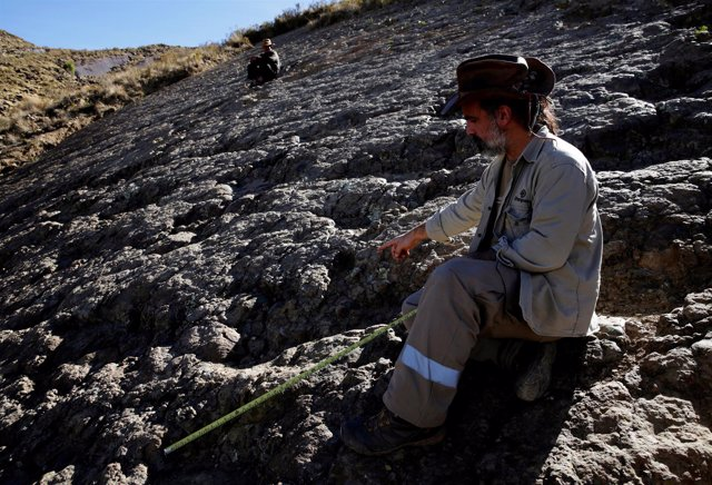 El paleontólogo Sebastián Apesteguía muestra huella de dinosaurio en Bolivia