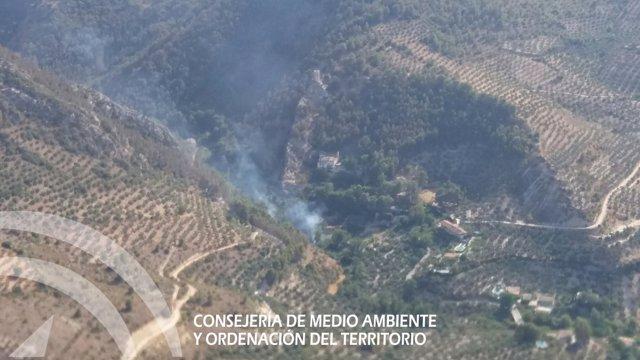 Imagen del incendio de Bedmar tomada por el Infoca