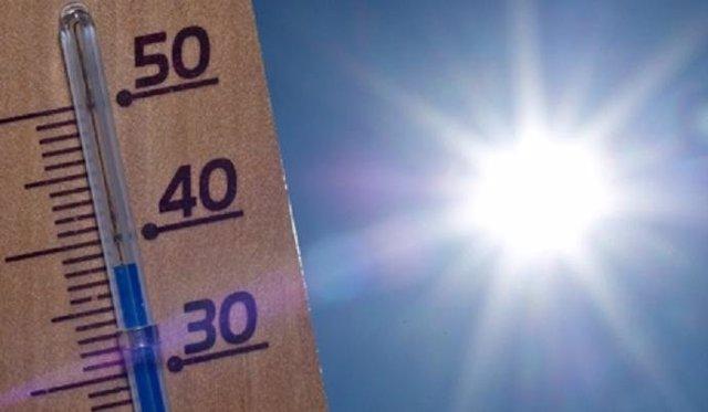 Sol, calor, termómetro, temperatura