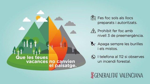 Consejos de la Generalitat para prevenir incendios