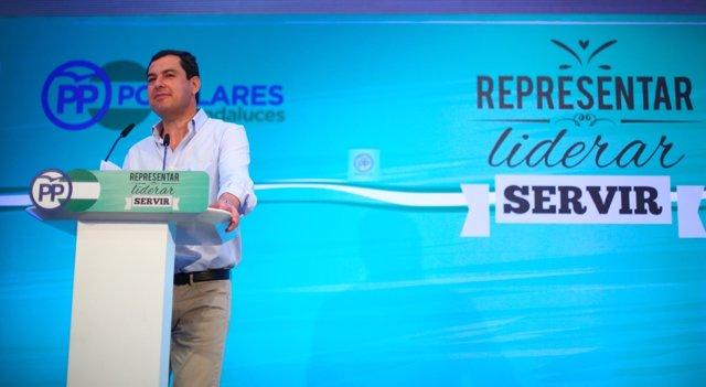El presidente del PP-A, Juanma Moreno, en Torremolinos (Málaga)
