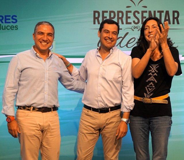 Elías Bendodo, Juanma Moreno y Loles López (PP)