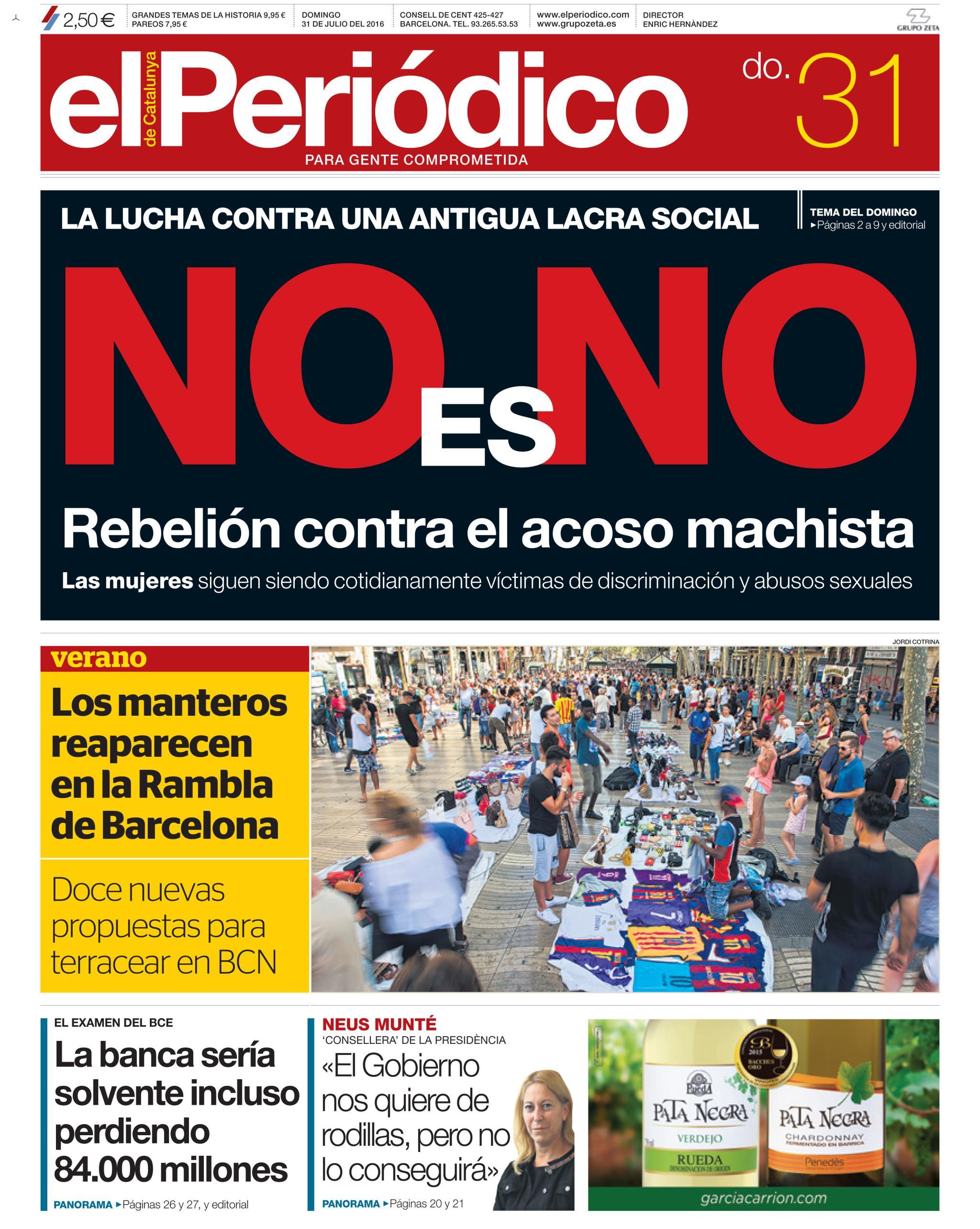 Periódico portada 31 julio 2016
