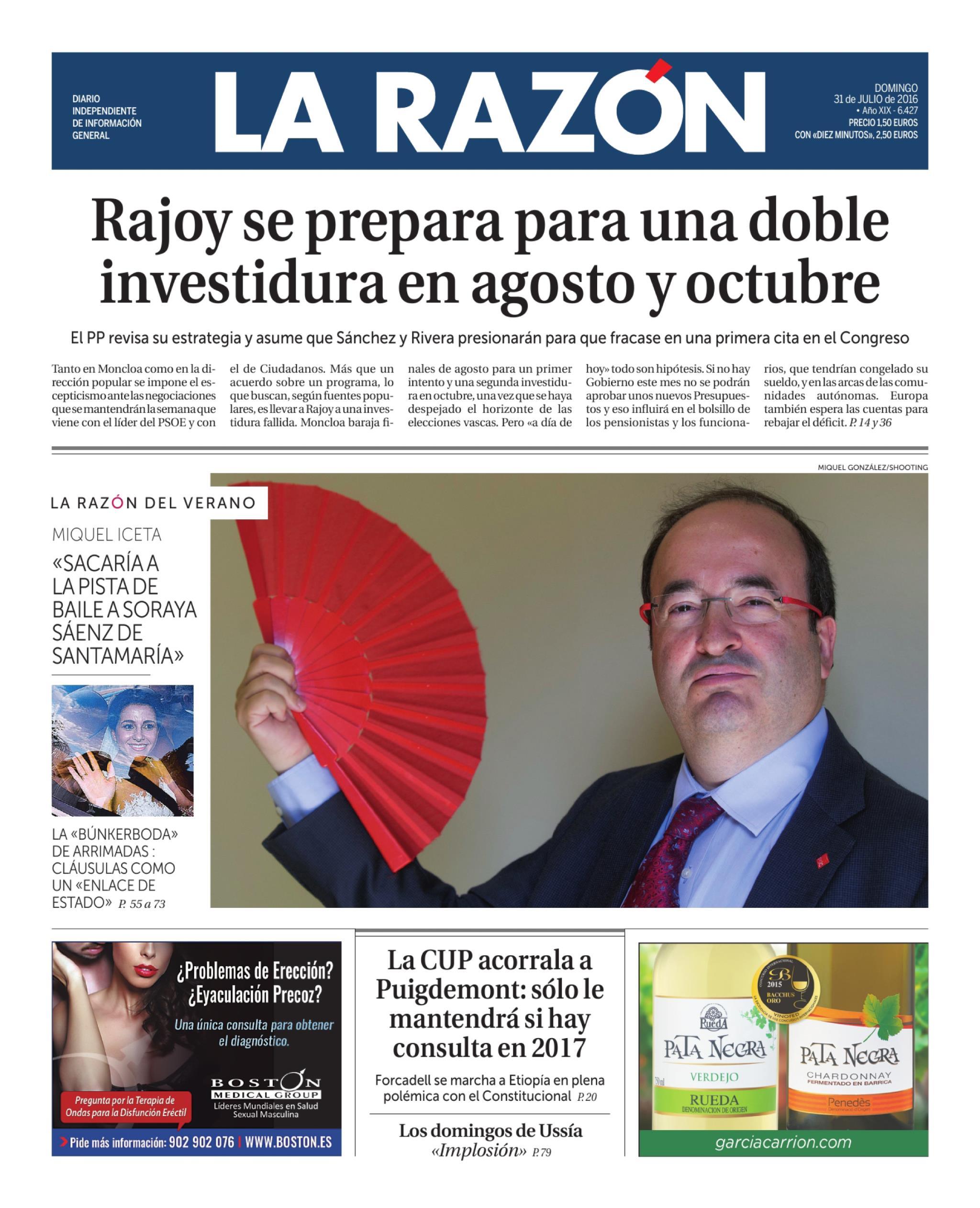 La Razón portada 31 julio de 2016
