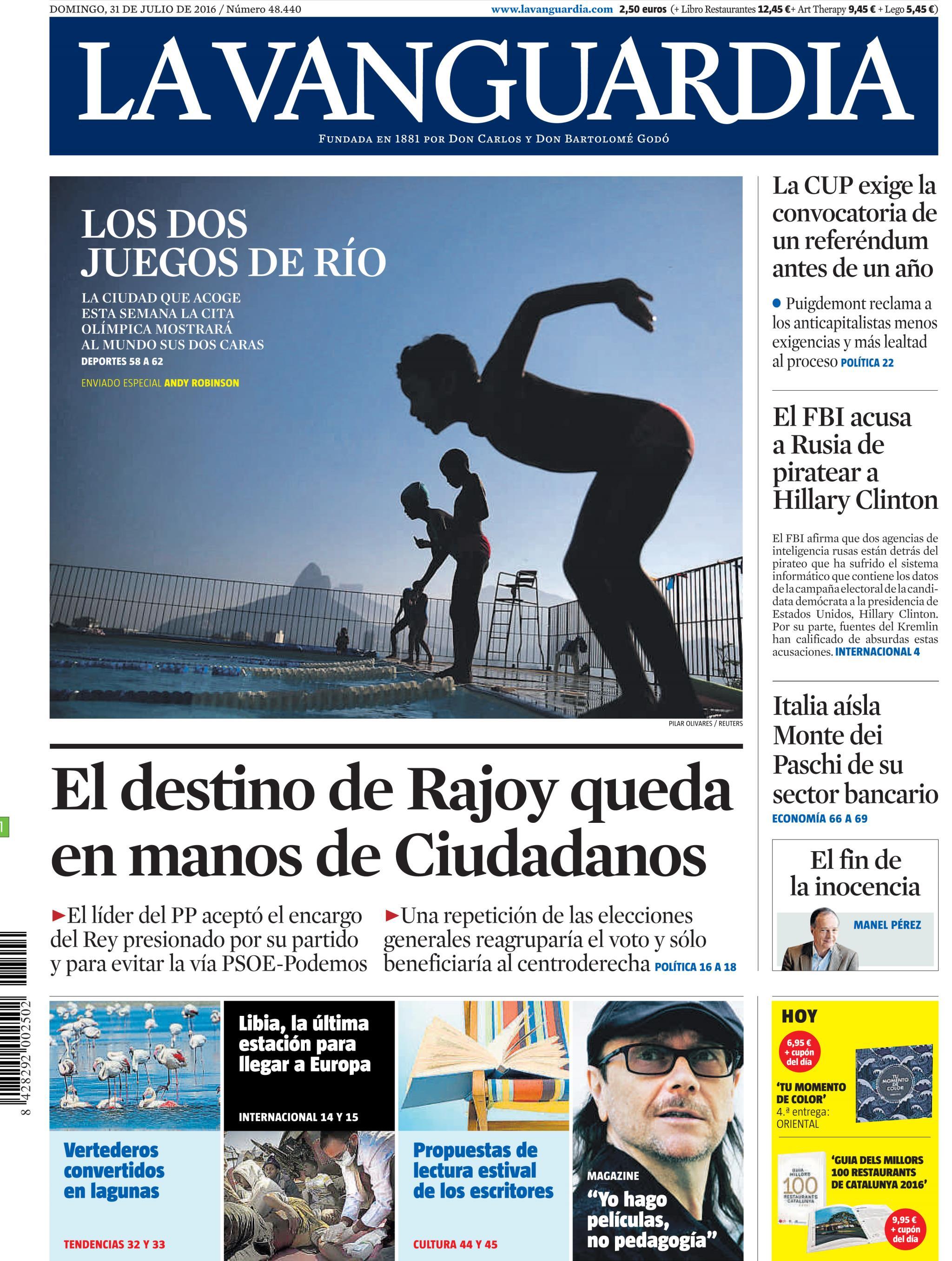 Vanguardia portada 31 julio de 2016