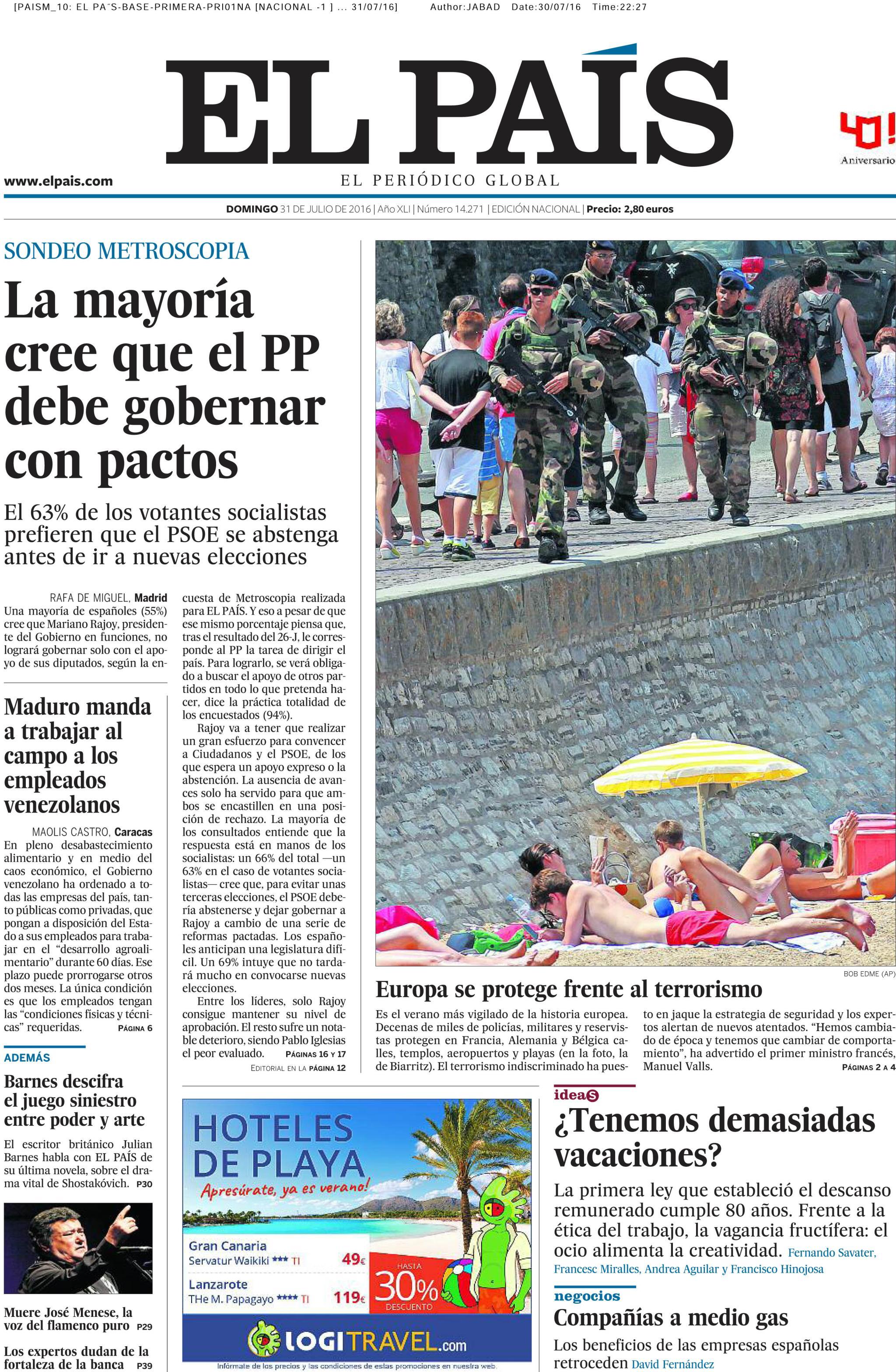 El País portada 31 julio 2016