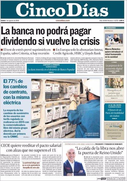 Las portadas de los periódicos económicos de hoy, lunes 1 de julio
