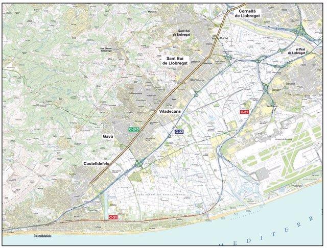 Mapa con el trazado en el que se aplicará el proyecto de carril bus y bici