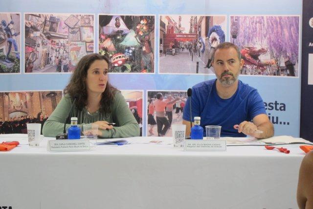 El concejal Eloi Badia y la presidenta de la Fundació F.M.De Gràcia C.Carbonell