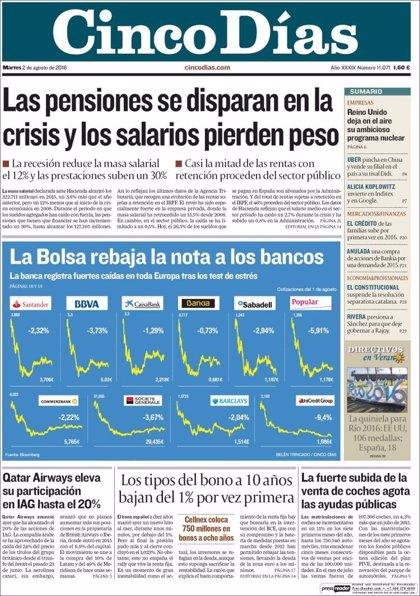 Las portadas de los periódicos económicos de hoy, martes 2 de agosto