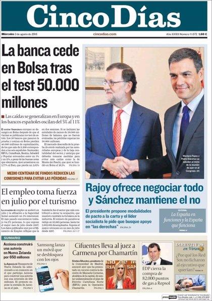 Las portadas de los periódicos económicos de hoy, miércoles 3 de agosto