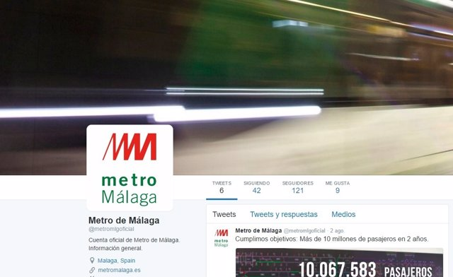 Perfil del metro de Málaga en Twitter